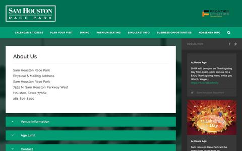 Screenshot of About Page shrp.com - About   Sam Houston Race Park - captured Nov. 19, 2016