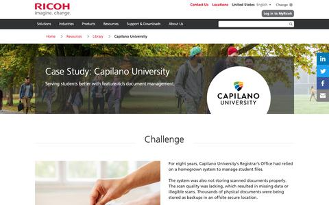 Screenshot of Case Studies Page ricoh-usa.com - Case Study: Capilano University - captured Jan. 3, 2019