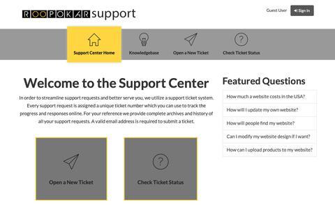 Screenshot of Support Page roopokar.com - Roopokar Support - captured Oct. 18, 2018