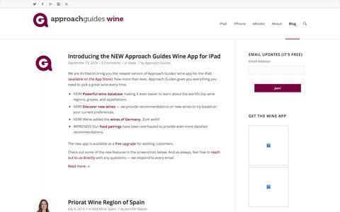 Screenshot of Blog approachguides.com - Wine Blog - Approach Guides Wine - captured Sept. 22, 2014
