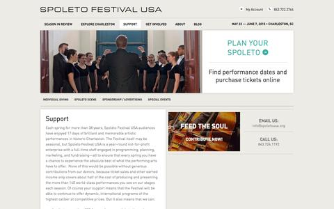 Screenshot of Support Page spoletousa.org - Spoleto Festival USA 2014 » Support - captured Oct. 7, 2014