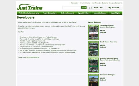 Screenshot of Developers Page justtrains.net - Just Trains - Developers - captured April 23, 2017