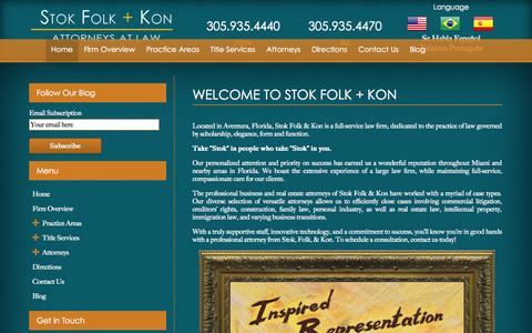 Screenshot of Home Page stoklaw.com - Law Firms Aventura FL | Stok Folk & Kon | 305.935.4440 - captured Oct. 7, 2014