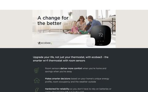 Screenshot of Landing Page ecobee.com - A change for the better – ecobee - captured Oct. 21, 2017