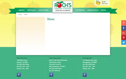 Screenshot of Press Page rochs.com - Roch's Fresh Foods Gift Baskets and More - News - captured Dec. 1, 2016