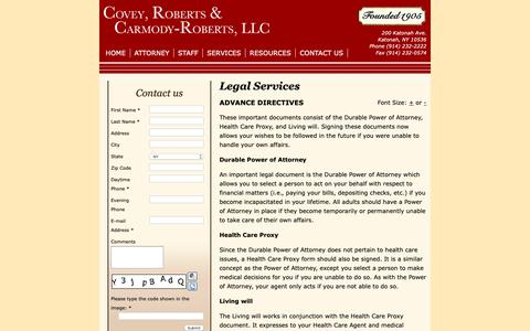 Screenshot of Services Page robertsandcorliss.com - CRCR Law - Legal Services - captured Sept. 29, 2018