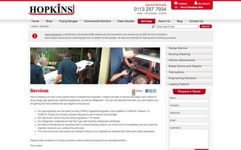 Screenshot of Services Page hopkins.biz - Services  at Hopkins Catering Equipment Ltd - captured Oct. 10, 2014