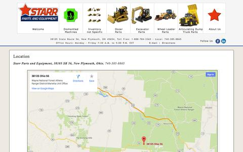 Screenshot of Maps & Directions Page starrparts.com - Construction Equipment, New & Used, Heavy Machinery, Excavators, Dozer and Wheel Loaders - captured Oct. 7, 2014