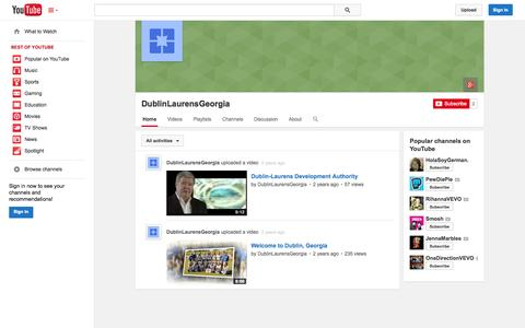 Screenshot of YouTube Page youtube.com - DublinLaurensGeorgia  - YouTube - captured Oct. 23, 2014