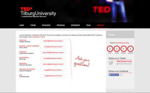 Screenshot of Contact Page tedxtilburguniversity.nl - Contact - TEDxTilburgUniversity 2014   Living Limitless - captured Sept. 30, 2014