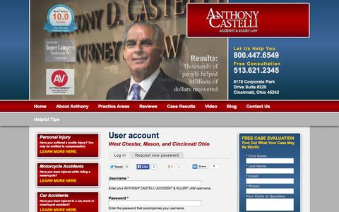 Screenshot of Login Page castellilaw.com - User account - captured Oct. 4, 2014