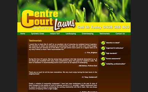 Screenshot of Testimonials Page centrecourtlawns.com - Synthetic Grass, Instant Turf, Greenkeepers, Landscapers & Gardeners, Centre Court Lawns, Melbourne - captured Sept. 29, 2014