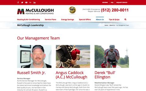Screenshot of Team Page coolmenow.com - Our Management Team - McCullough - Austin Texas largest family-owned air conditioning and energy conservation contractor - captured Feb. 12, 2016