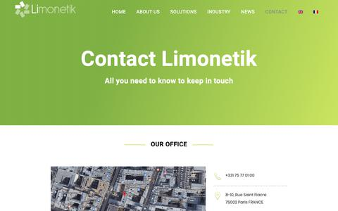 Screenshot of Contact Page limonetik.com - CONTACT - Limonetik - Outsourced payment infrastructure - captured Oct. 21, 2018
