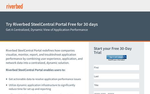Screenshot of Trial Page riverbed.com - Steelcentral Portal 30 Day Free Trial | Riverbed | US - captured May 25, 2017
