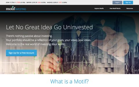 Screenshot of Home Page motifinvesting.com - Online Brokerage, Investment Ideas, Stock Trading - captured July 3, 2015