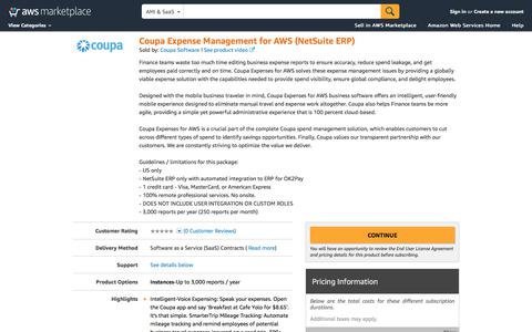 AWS Marketplace: Coupa Expense Management for AWS (NetSuite ERP)