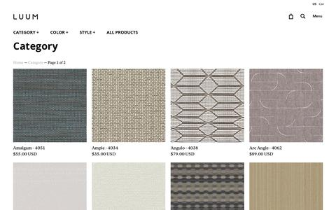 Screenshot of Products Page luumtextiles.com - Category                           | luum-textiles-us - captured July 11, 2018