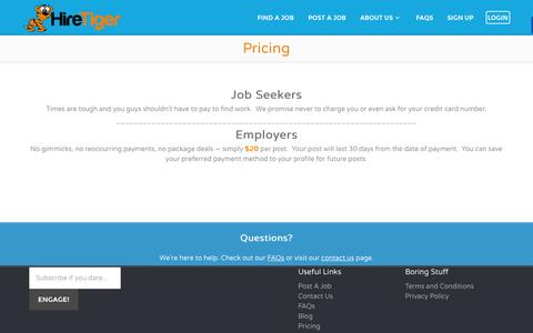Screenshot of Pricing Page hiretiger.com - Pricing - Jobs in Knoxville - HireTiger - captured Oct. 23, 2014