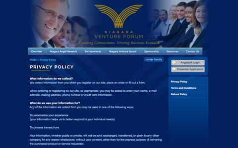 Screenshot of Privacy Page niagaraventureforum.com - Niagara Venture Forum - Welcome - captured Sept. 30, 2014