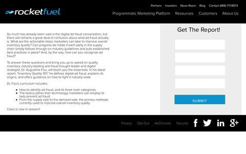 Screenshot of Landing Page rocketfuel.com - Inventory Quality 101 - captured Aug. 18, 2016