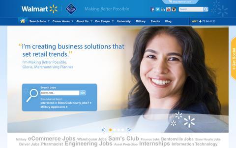 Screenshot of Jobs Page walmart.com - Welcome to Walmart Careers - captured Sept. 19, 2014