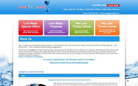 Screenshot of About Page lovewater.com - Home Water Coolers & Office Water Coolers Surrey & London | Love Water - captured Nov. 12, 2016