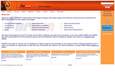 Screenshot of Home Page forvan.com - Forvan Technology Services Inc. - Home Page - captured Oct. 6, 2014