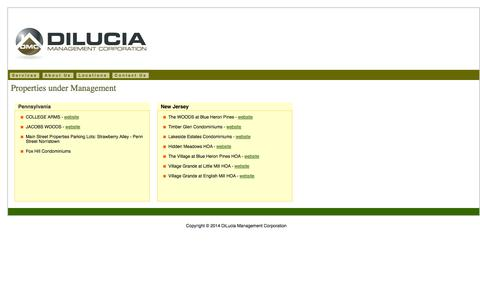 Screenshot of Locations Page dilucia.com - DiLucia - Our Property Locations - captured Oct. 5, 2014