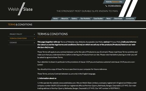 Screenshot of Terms Page welshslate.com - Terms & Conditions | Welsh Slate - captured Sept. 26, 2014