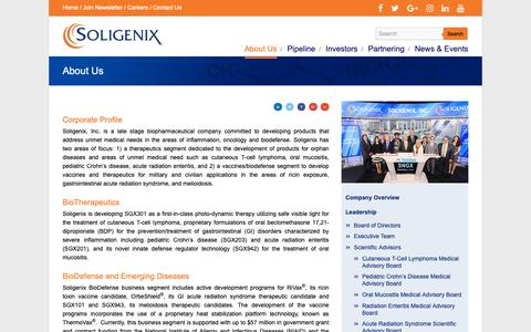 Screenshot of About Page soligenix.com - Soligenix, Inc. - Biopharmaceutical company developing products to treat side effects of cancer treatments, gastrointestinal diseases and vaccines against bioterrorism agents. - captured Oct. 18, 2018