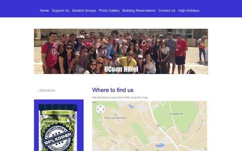 Screenshot of Maps & Directions Page uconnhillel.org - Directions - UConn Hillel - captured Sept. 30, 2014