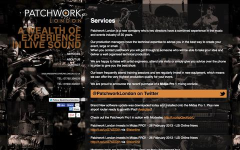 Screenshot of Services Page patchworklondon.co.uk - Services - Patchwork London PA Hire based in Hertfordshire - Patchwork London - captured Sept. 30, 2014