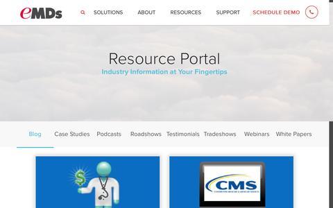 Screenshot of Blog e-mds.com - Healthcare Management Blog - eMDs - captured Jan. 13, 2017