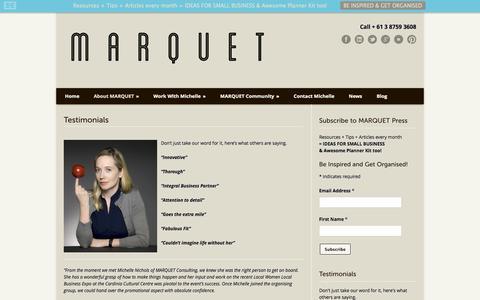 Screenshot of Testimonials Page marquet.com.au - MARQUET MARQUET Testimonials - Here is what others are saying - captured Oct. 27, 2014