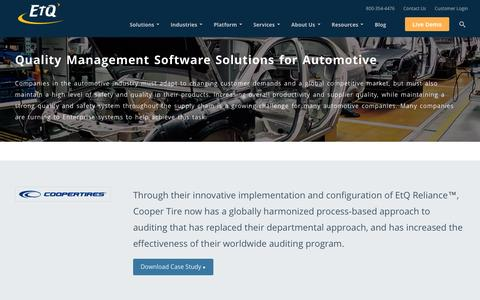 Quality Management Solutions for Automotives by EtQ