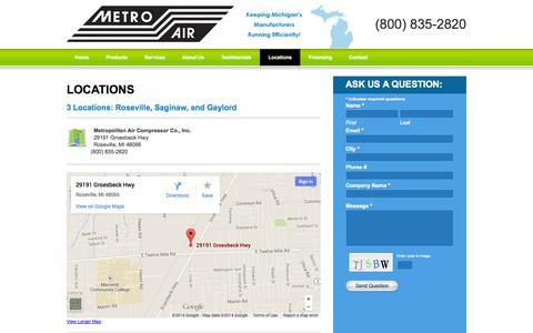 Screenshot of Locations Page metroaircomp.com - Metro Air Compressor Locations Michigan - Air Compressor Parts, Air Compressor Motors - captured Oct. 27, 2014