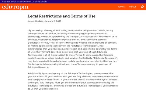 Legal Restrictions and Terms of Use | Edutopia
