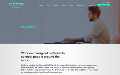 Screenshot of Jobs Page motto.nl - Motto Careers - Work on the magical platform FLUX - Works like Magic - captured Oct. 18, 2018