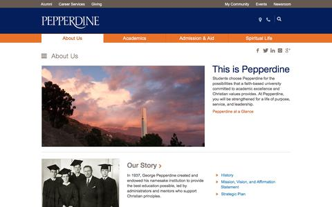Screenshot of About Page pepperdine.edu - Become a Part of Pepperdine | Pepperdine University - captured Jan. 24, 2018