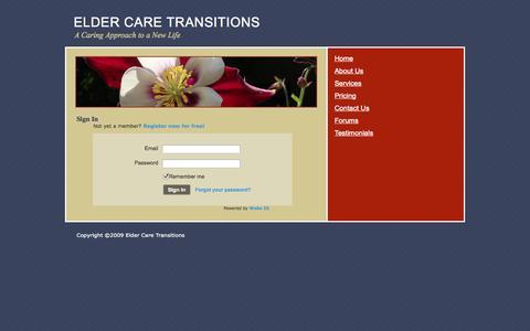 Screenshot of Login Page ectransitions.com - Login - ELDER CARE TRANSITIONS - captured Oct. 2, 2014