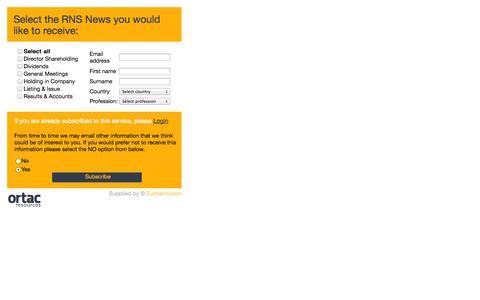 Screenshot of Signup Page ortacresources.com captured Oct. 7, 2014