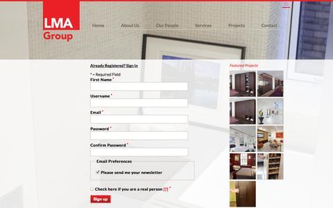 Screenshot of Signup Page lmagroupinc.com - LMA Group Inc. - captured Sept. 26, 2014