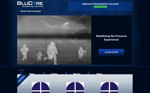 Screenshot of Home Page blucoreshootingcenter.com - gun shop, shooting range, firearms training - BluCore Shooting Center - captured Sept. 19, 2014