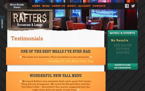 Screenshot of Testimonials Page raftersmammoth.com - Rafter's Restaurant | Mammoth Lakes, CA - captured April 6, 2016