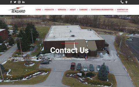Screenshot of Contact Page tekgard.com - Contact Us  - Tekgard, Inc. - York, PA - captured Oct. 18, 2018