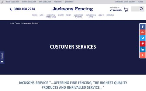 Screenshot of Support Page jacksons-fencing.co.uk - Customer Service | Jacksons Fencing - captured Sept. 22, 2018