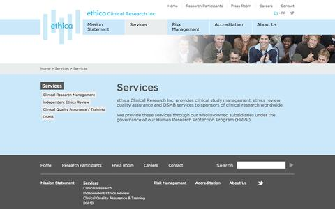 Screenshot of Services Page ethicaclinical.com - Services - captured Oct. 3, 2014