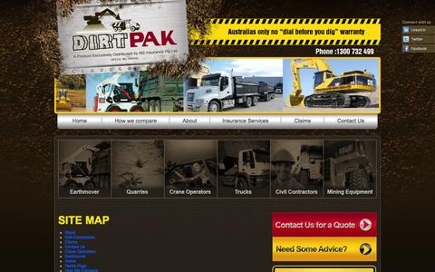 Screenshot of Site Map Page dirtpak.com.au - DirtPak - Insurance for Heavy Machinery - captured Oct. 5, 2014