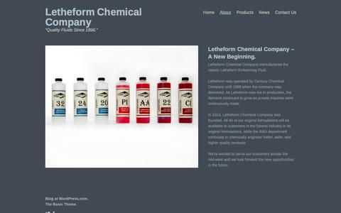 Screenshot of About Page letheform.com - About  |   Letheform Chemical Company - captured Oct. 2, 2014